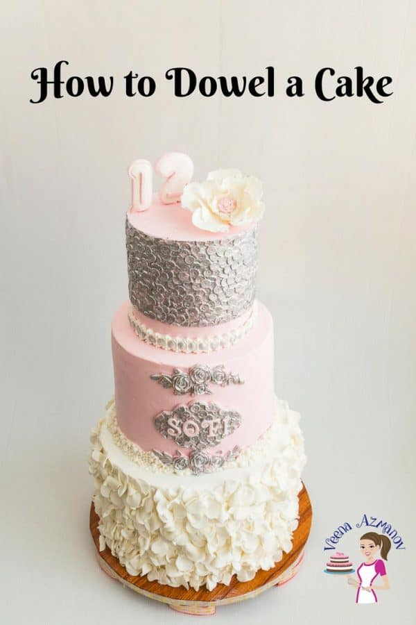 An image optimized for social media share on how to dowel a cake for cake decorating purposes.