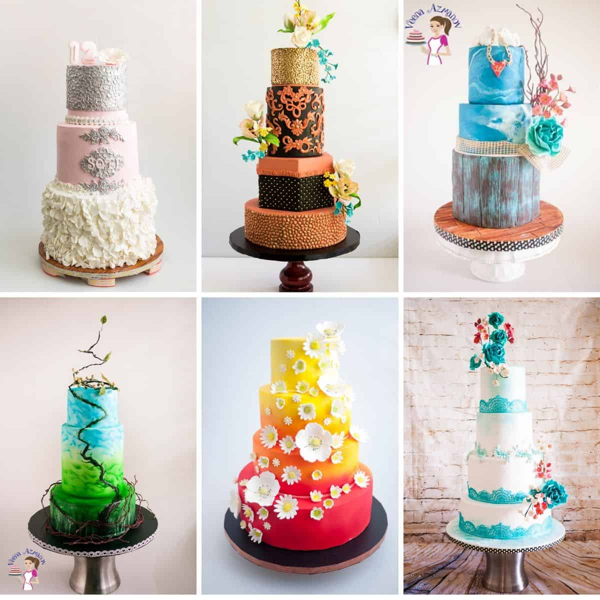 A collage of stacked cakes.