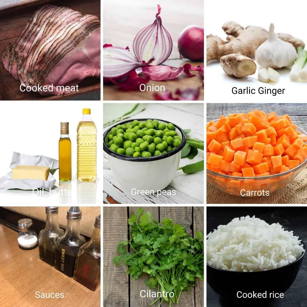 Ingredients to make fried rice.
