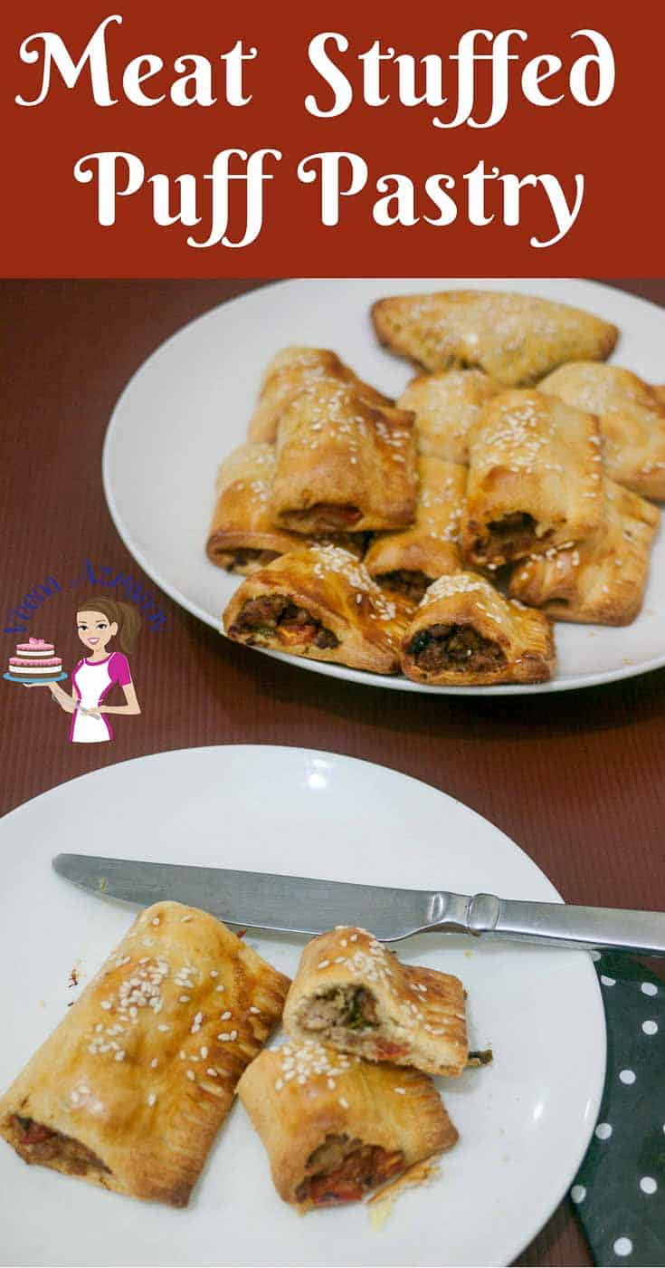 A Pinterest Optimized Image for Meat Stuffed Puff Pastry aka Meat Puffs made with ground meat and buttery golden baked puff pastry.