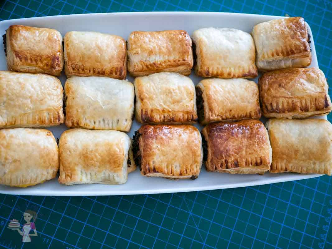 Puff pastry made at a different time - using the alternate method. Meat Stuffed Puff Pastry Bites