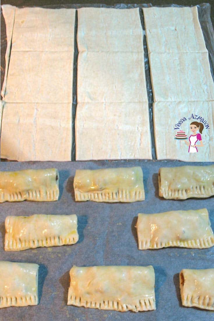 Progress Pictures - Cutting the puff pastry sheet into three across horizontally and ten vertically for our Meat Stuffed Puff Pastry