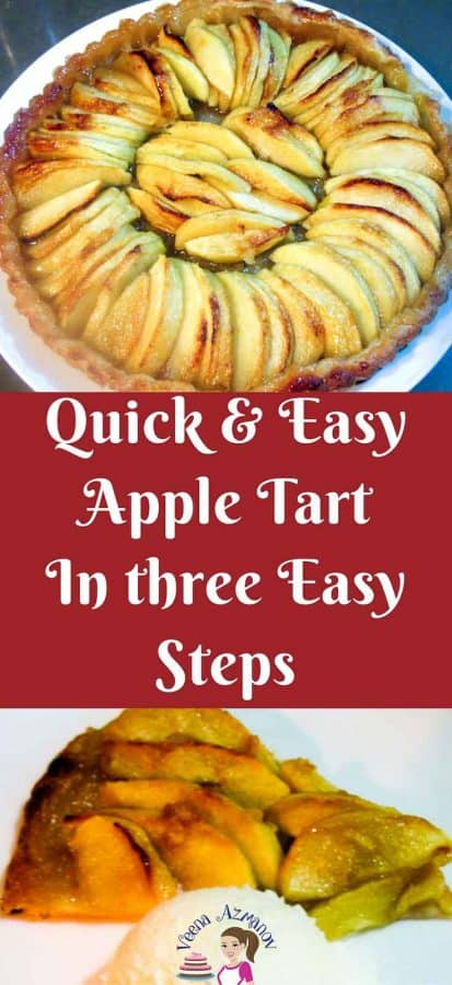 Pinterest Image An apple dessert with five minutes hands on and baked in less than 30 minutes is an absolute treat any time of the year. This simple, easy and effortless quick and easy apple tart can be made in just three easy steps weather you serving it for the family on a week night or over dessert with some friends.