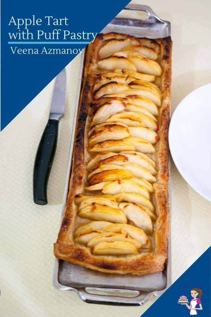 A rustic apple tart with puff pastry is a great way to make a quick and easy dessert with minimum effort. Using just 5 ingredients you probably already have on hand this is the perfect dessert for apple season. #appletart #puffpastrytart #applepuffpastrytart #tart #apples #appledesserts #applerecipes via @Veenaazmanov