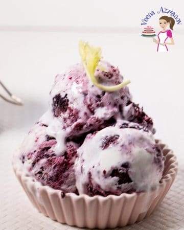 Blackberry ice cream in a ramekin.