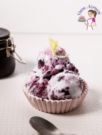 A image optimized for social sharing for no churn 3 ingredients blackberry ice cream which takes just five minutes to prepare and does not need an ice cream maker. This is probably the best no-churn blackberry ice cream ever.