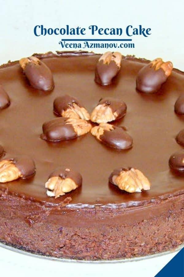 Pinterest image for chocolate pecan cake.