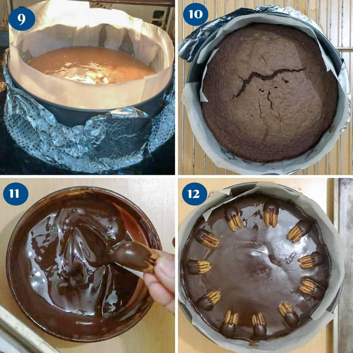 Progress pictures collage for chocolate pecan cake.