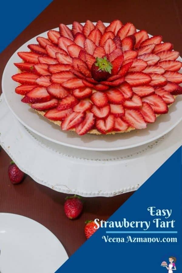 A Pinterest image for strawberry tart