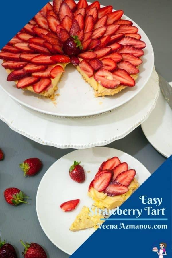 A strawberry tart image for Pinterest