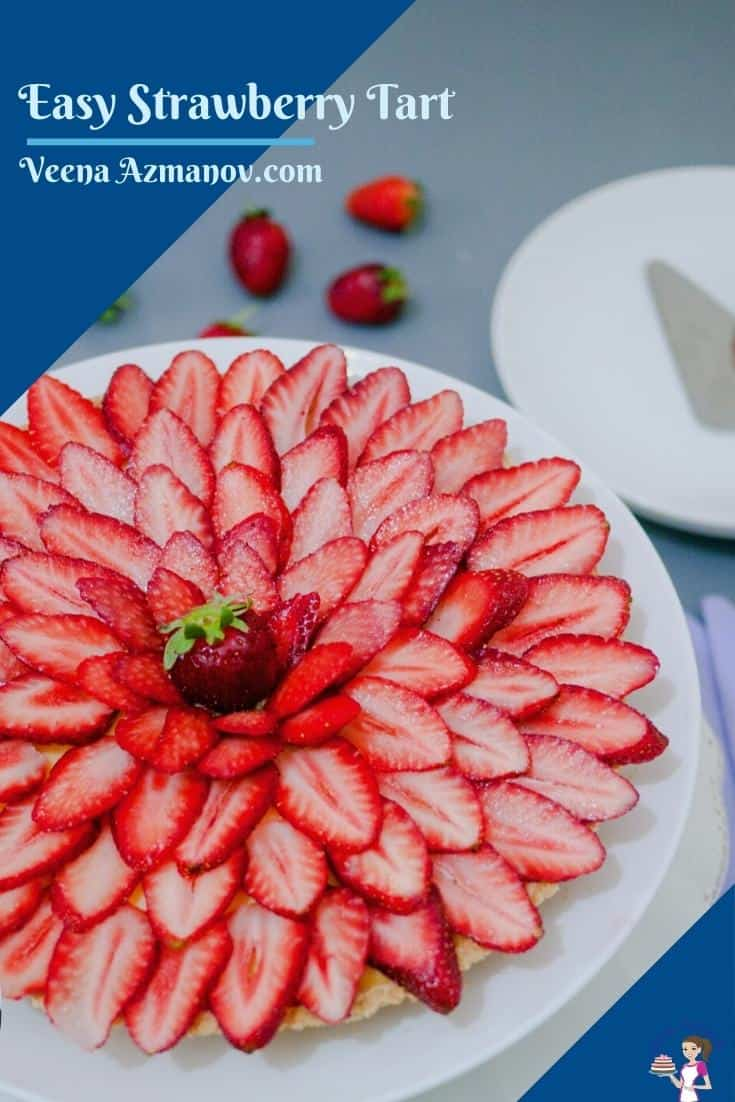 This fresh strawberry tart is made with a buttery shortcrust pastry filled with vanilla pastry cream and dressed with slices of seasonal strawberries. A surprisingly simple and easy dessert that can be made ahead of time #tart #strawberry #fresh #strawberrytart #freshstrawberrytart  #dessert #strawberrydessert #strawberries #strawberrytreats via @Veenaazmanov