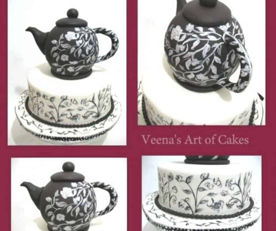 A cake decorated to look like a tea pot.