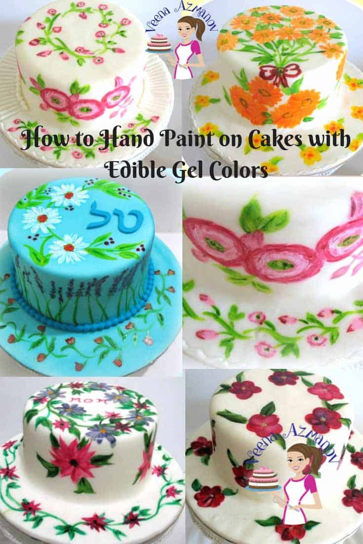 How to Hand Paint on Cakes with edible colors - Veena Azmanov
