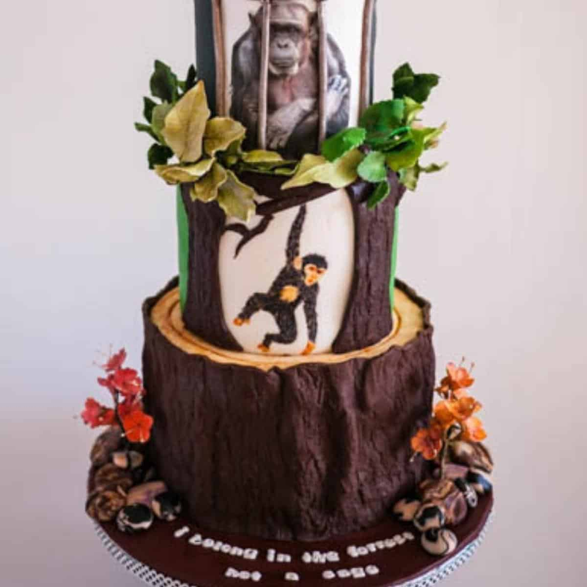 A tiered cake covered in modeling chocolate.