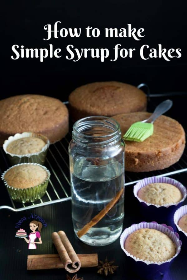 A jar of simple syrup for cakes.