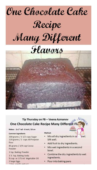 One Chocolate Cake Recipe many different flavors is an absolute winning recipe. Just one recipe & you can create six different flavors with simple addition or subtraction