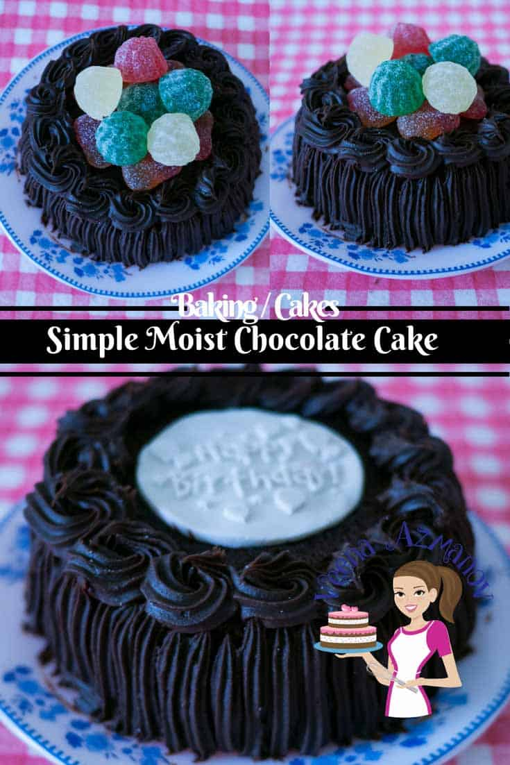 Simple moist chocolate cake is the simplest, easiest and quickest chocolate cake you can make. All you need is two bowls and a whisk. Deliciously light and airy this cake is can be served with whipped cream for a light dessert or with chocolate frosting for a more indulgent affair.