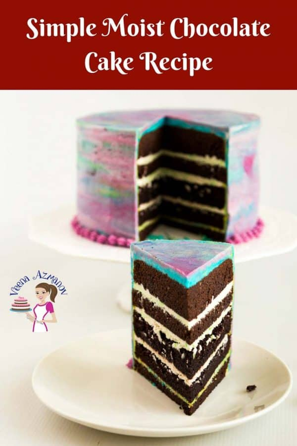 A Pinterest optimized image for this Simple Moist Chocolate Cake recipe, featuring a cut slice of the cake, displaying beautiful perfect dark chocolate layers with white velvet American buttercream
