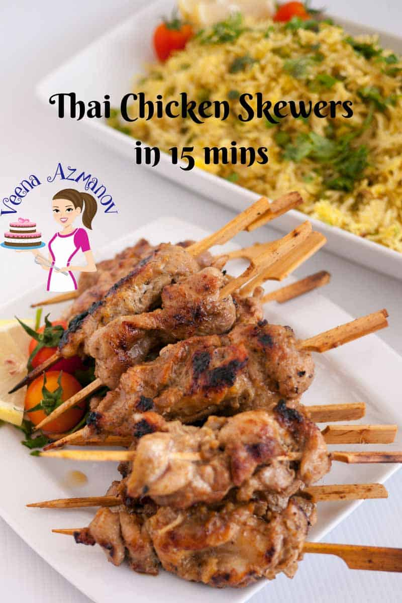 An image optimized for social media share for this step by step video recipe of Thai chicken skewers in 15 mins better than chicken satay or takeaway. Easy Asian chicken satay recipe ever.
