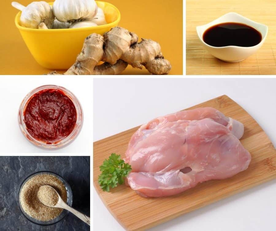 A collage of the ingredients for making Thai chicken skewers.