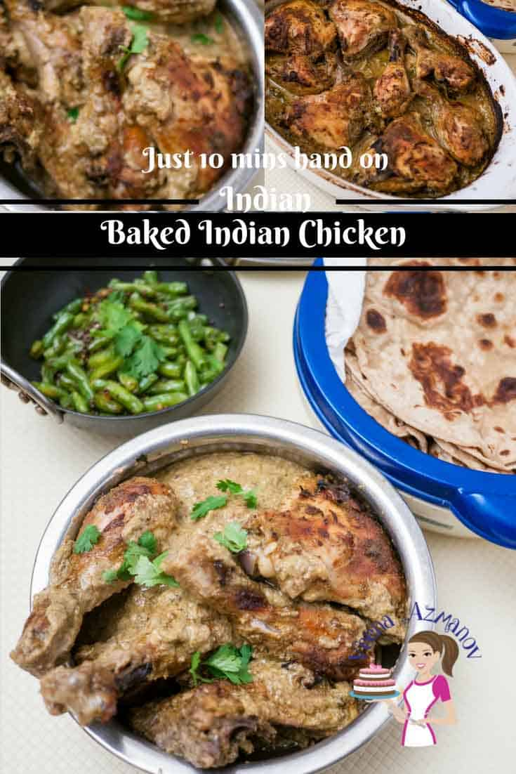 This Baked Indian Chicken is a simple, easy and delicious recipe that you will make in just ten minutes hands on time. The oven does the rest of the cooking for you and you get this deliciously succulent soft tender chicken with a creamy gravy to accompany your rice or chapati.