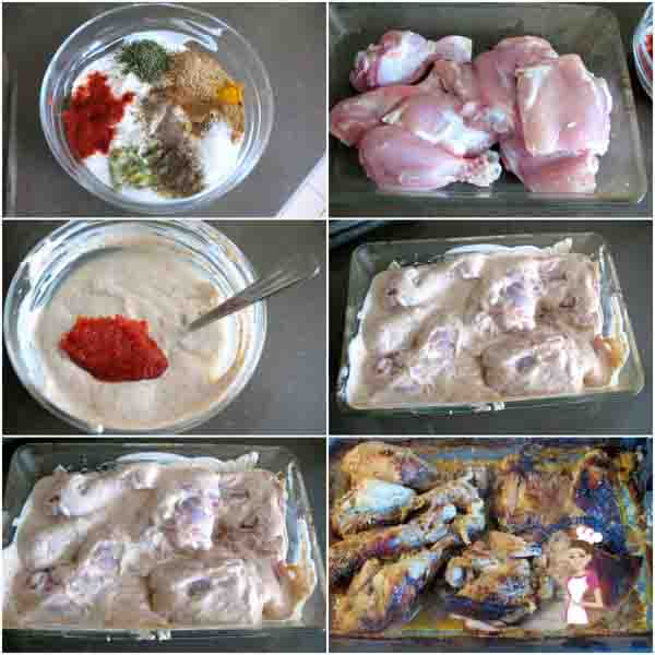 A collage of the ingredients for making Indian baked chicken.