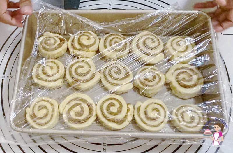 Baking the proofed rolls with cinnamon dough