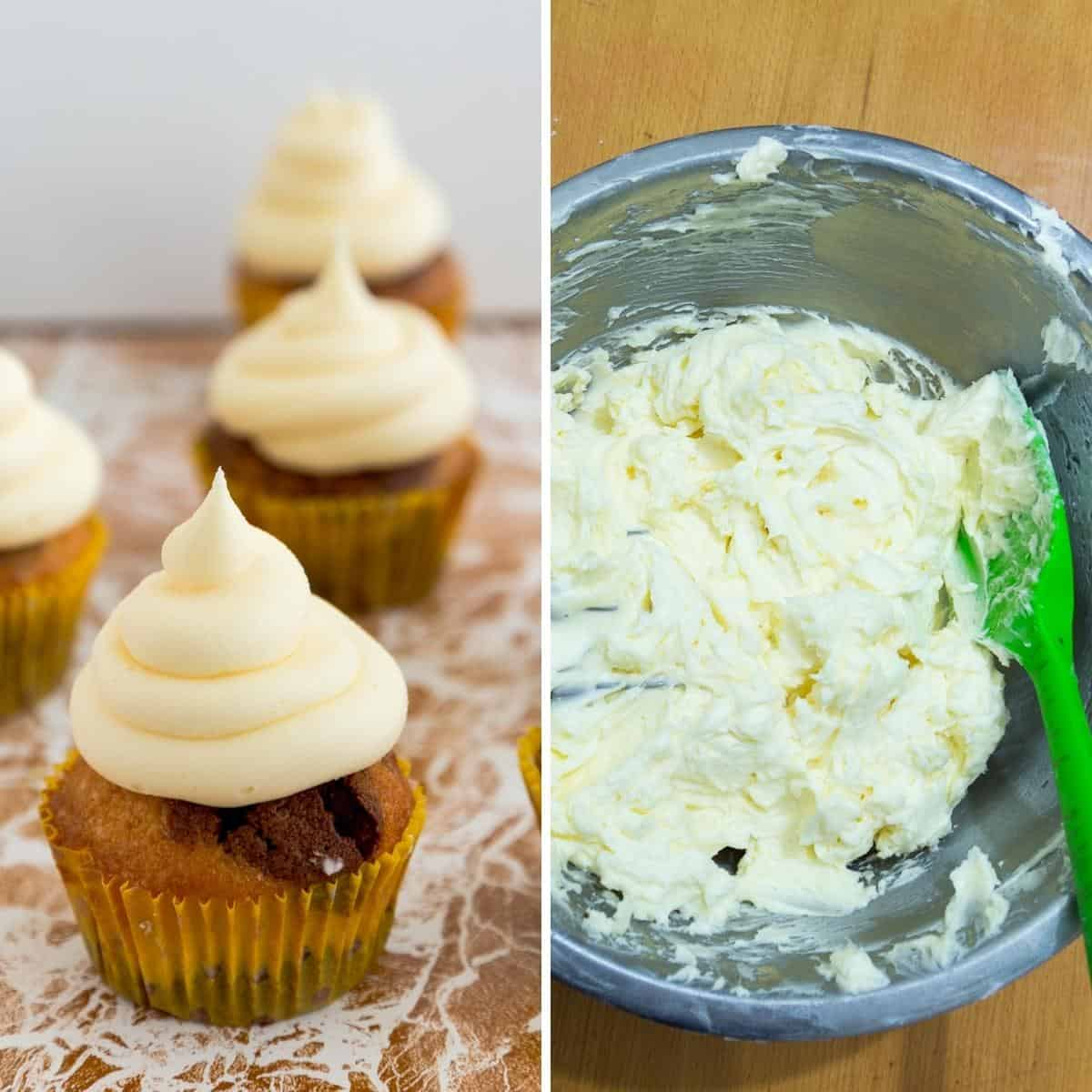 German frosting in a bowl and cupcakes.