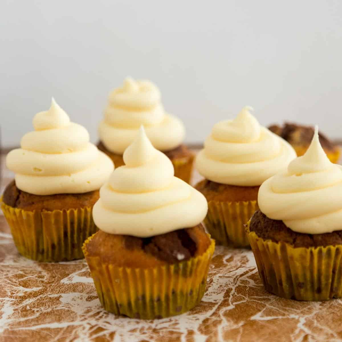 Cupcakes with German Custard Frosting.