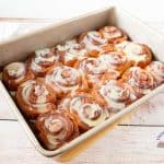 Cinnamon rolls in a baking tray.