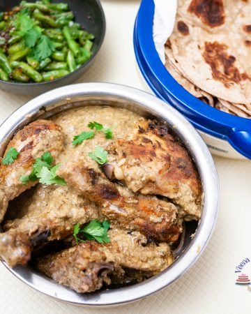 Indian food on display, chicken, beans and chapati