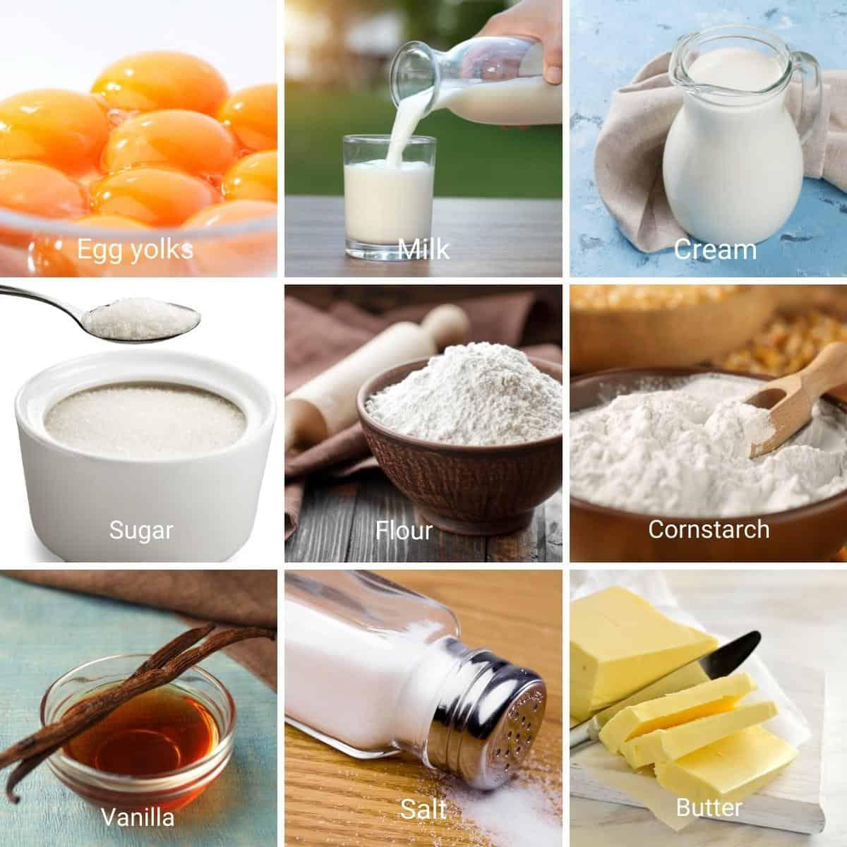 Ingredients for making German Buttercream.