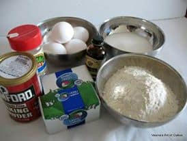 Baking a cake from scratch