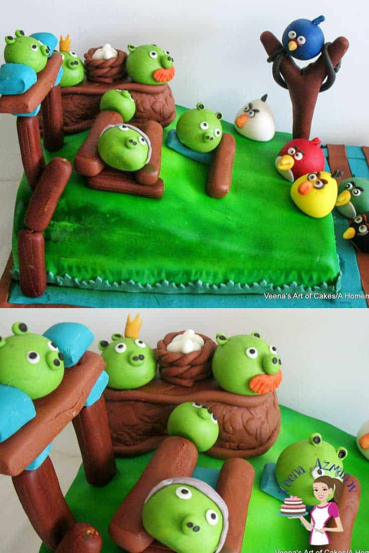 A cake decorated in an Angry Birds theme.