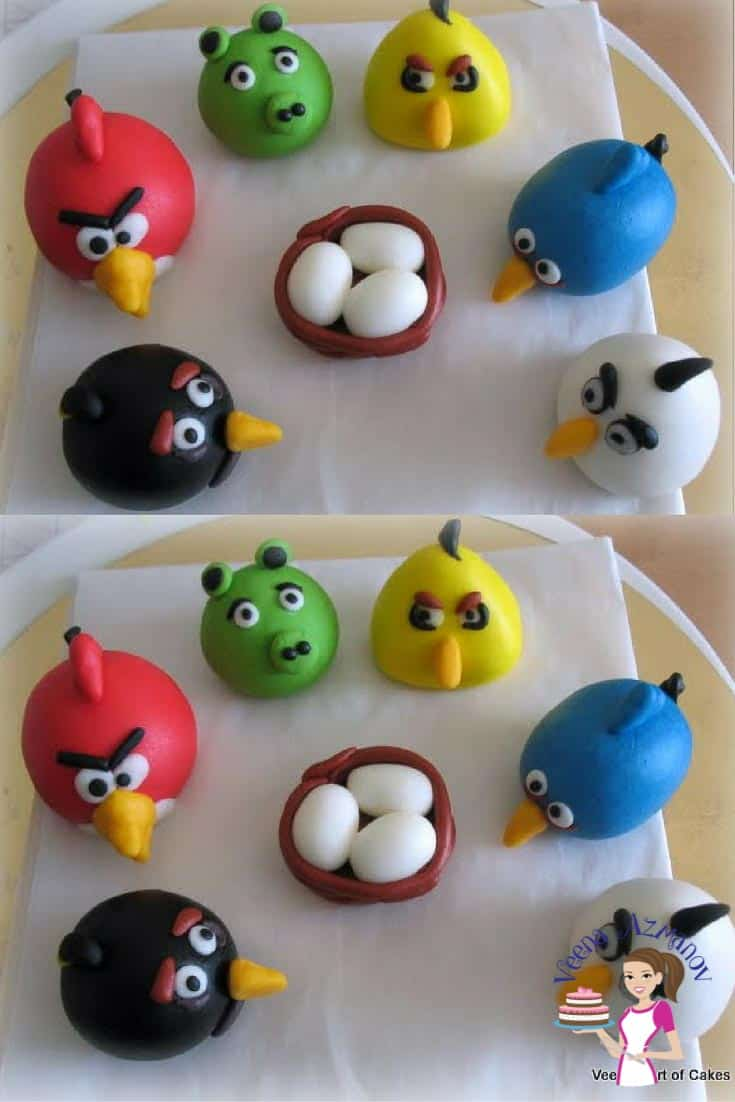 Figures from the Angry birds movie made of gum paste.