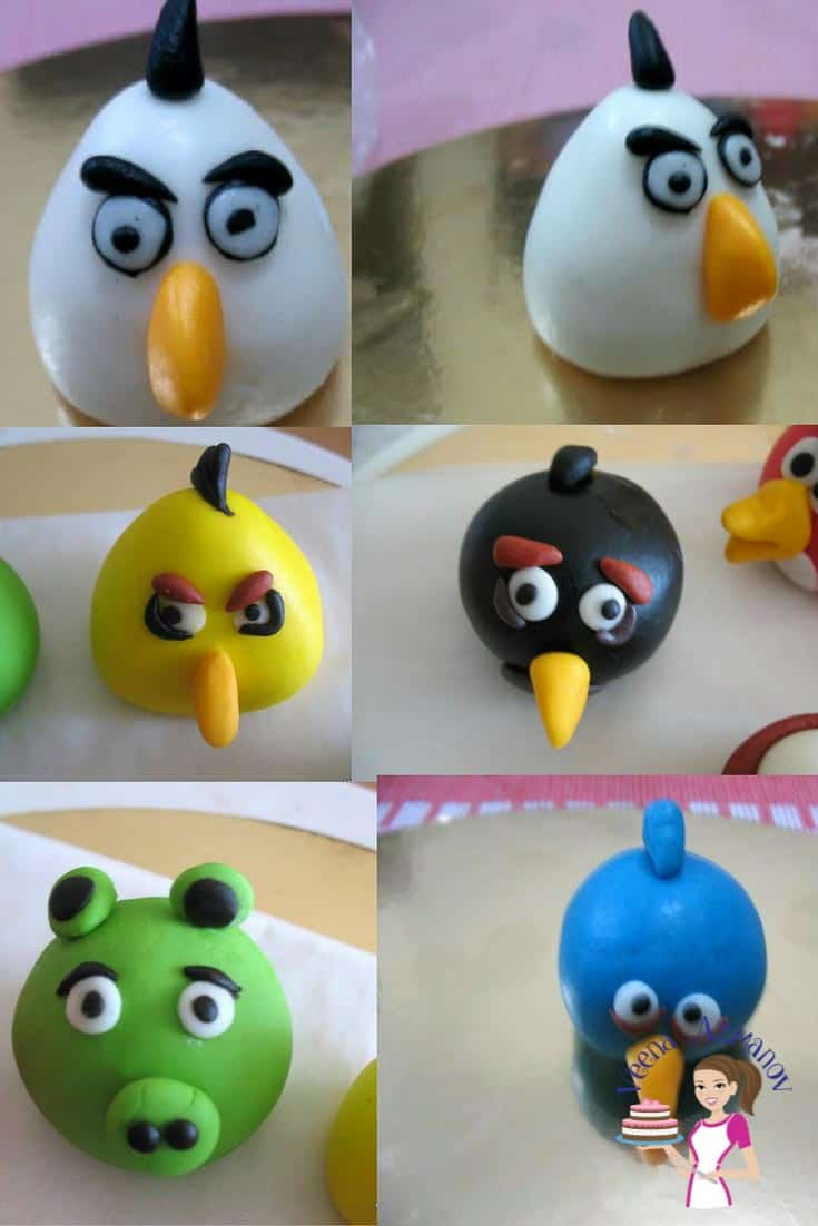 These gum paste angry birds cake toppers are a great addition to kids birthday cakes. Kids love this movie and are always excited to have them on the cake. While they a few in number these are extremely simple and easy to make. Here are a few progress pictures.