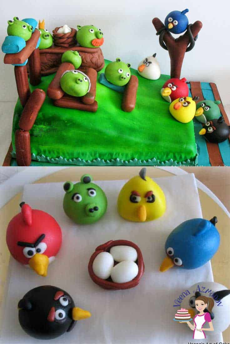 Progress photos of making a cake decorated in an Angry Birds theme.