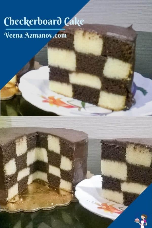 A Pinterest image for checkerboard cake