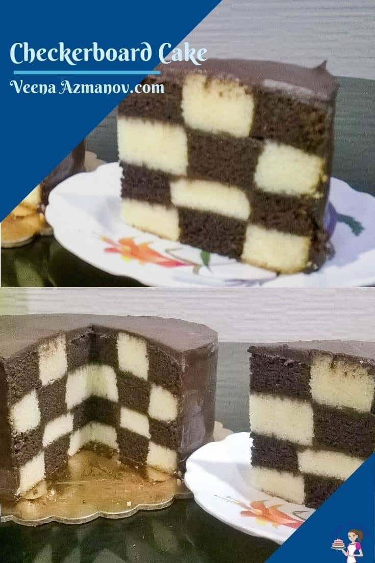 A checkerboard cake can be a fun and surprisingly easy cake to make. Four layers of vanilla and chocolate cake frosted with chocolate ganache create this wonderful checkerboard effect. #checkerboardcake #checkerboard #cakerecipe #cakes #easycakerecipe #vanillachocolatecake #vanillacake #chocolatecake  via @Veenaazmanov