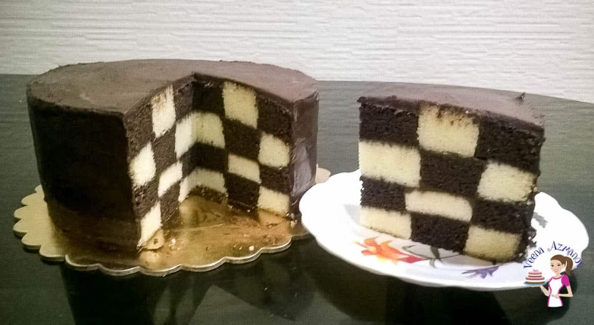 chocolate vanilla checkerboard cake