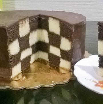 A cut cake on a board