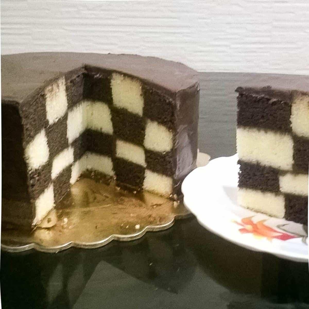 Cut checker board cake