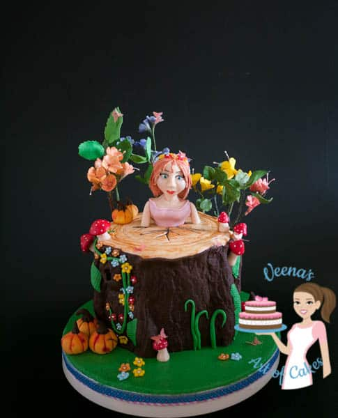 An Enchanted Forest Cake using white modeling chocolate for the top and a sugar model made with white modelling chocolate