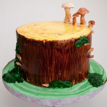 A block of wood with mushrooms made with modeling chocolate.