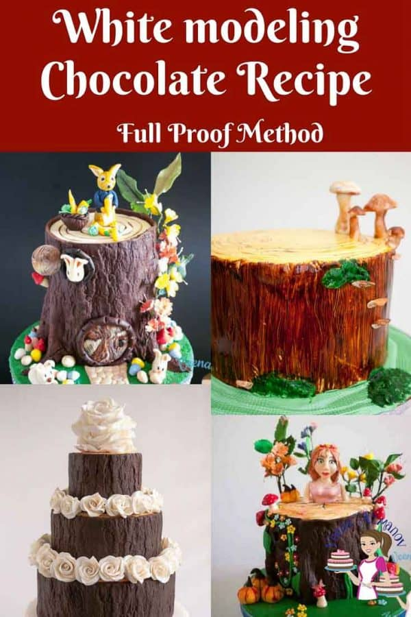 A collage of cakes decorated with modeling chocolate.
