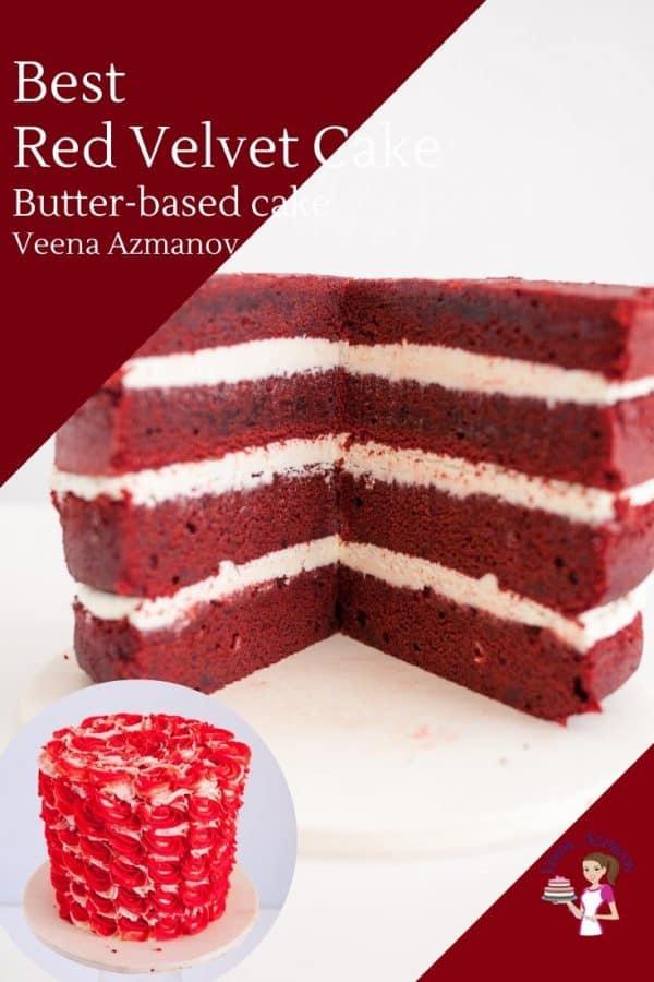 Progress photos of making a red velvet buttercream cake.