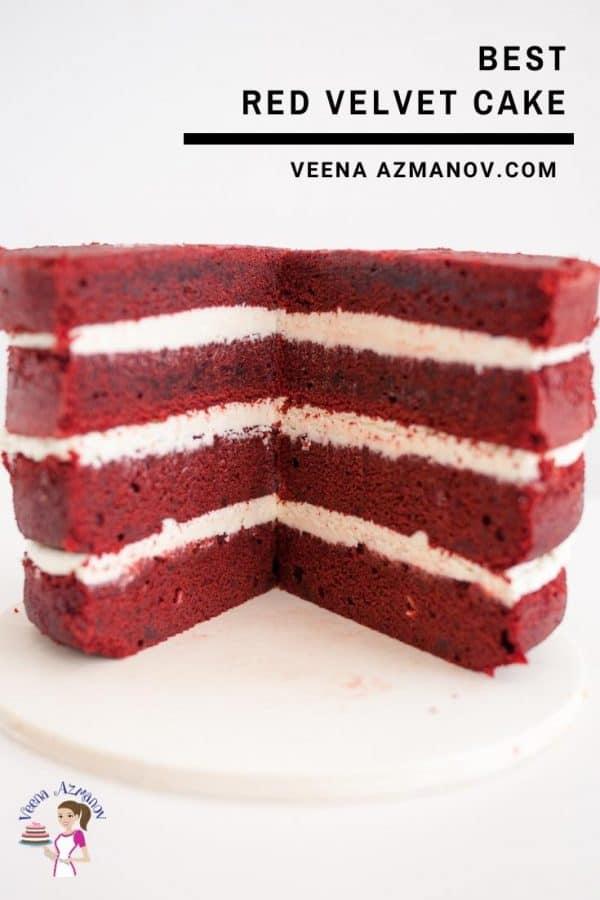 A cut red velvet buttercream cake.