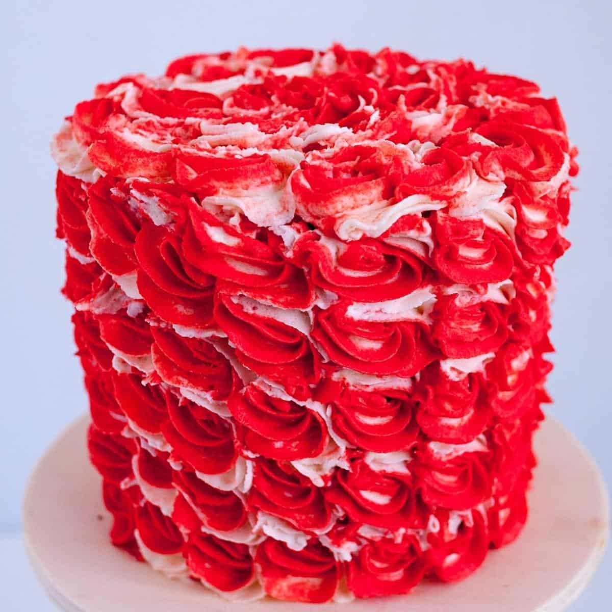 A red frosted cake for red velvet.