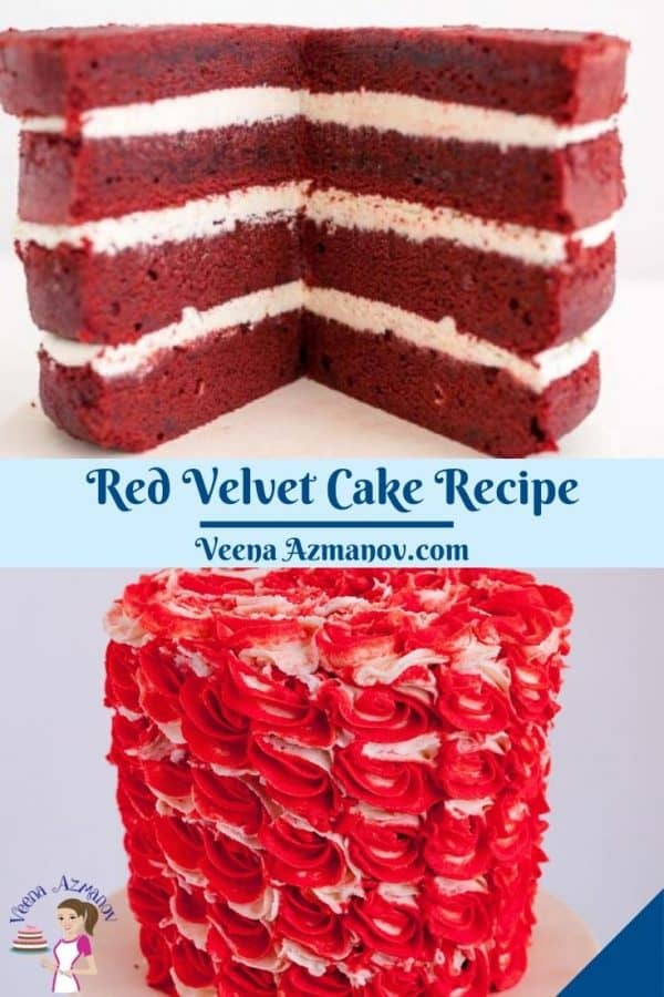 Pinterest image for velvet red cake.