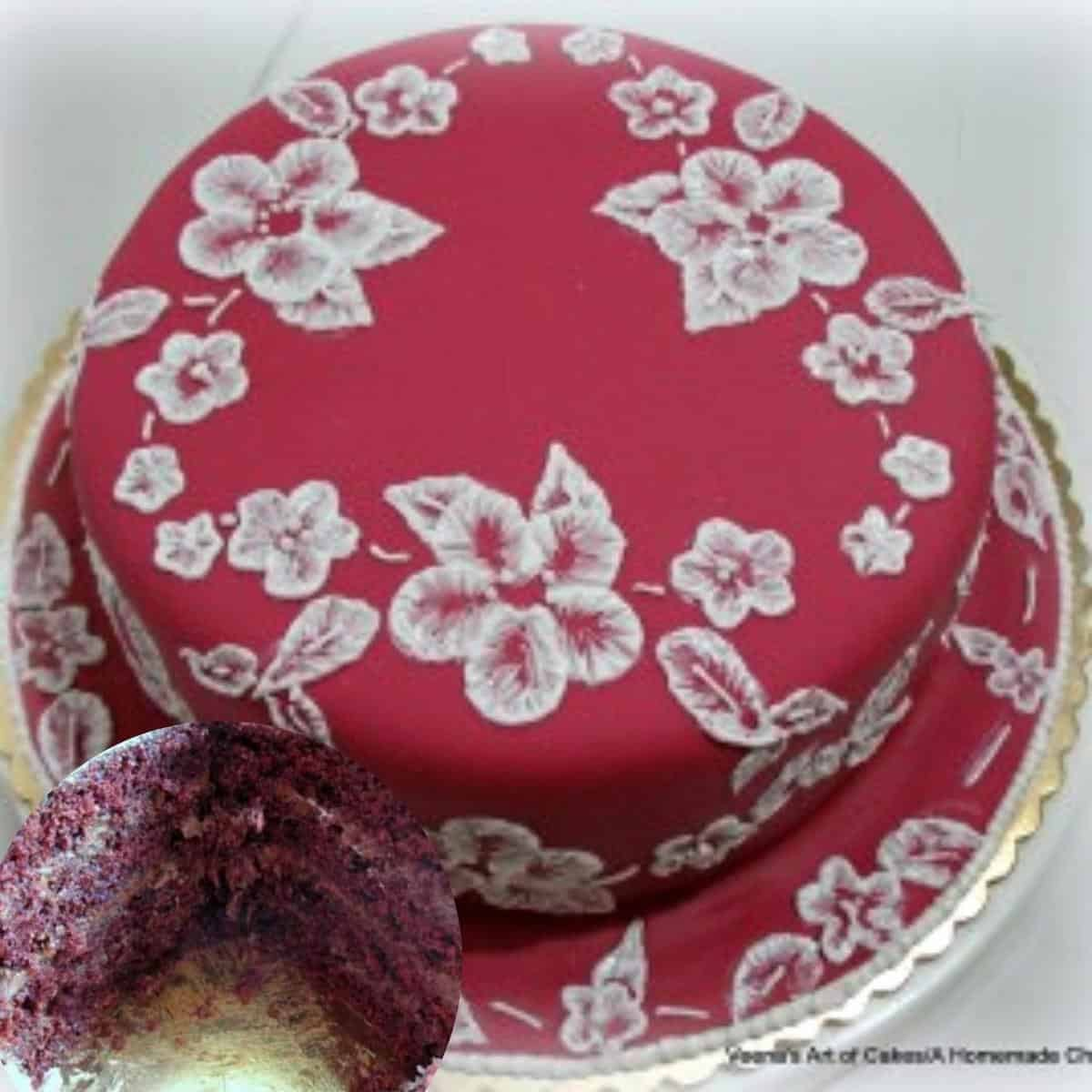 A brush embroidery cake with red velvet and IMBC.